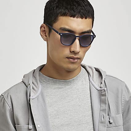 Navy retro square sunglasses