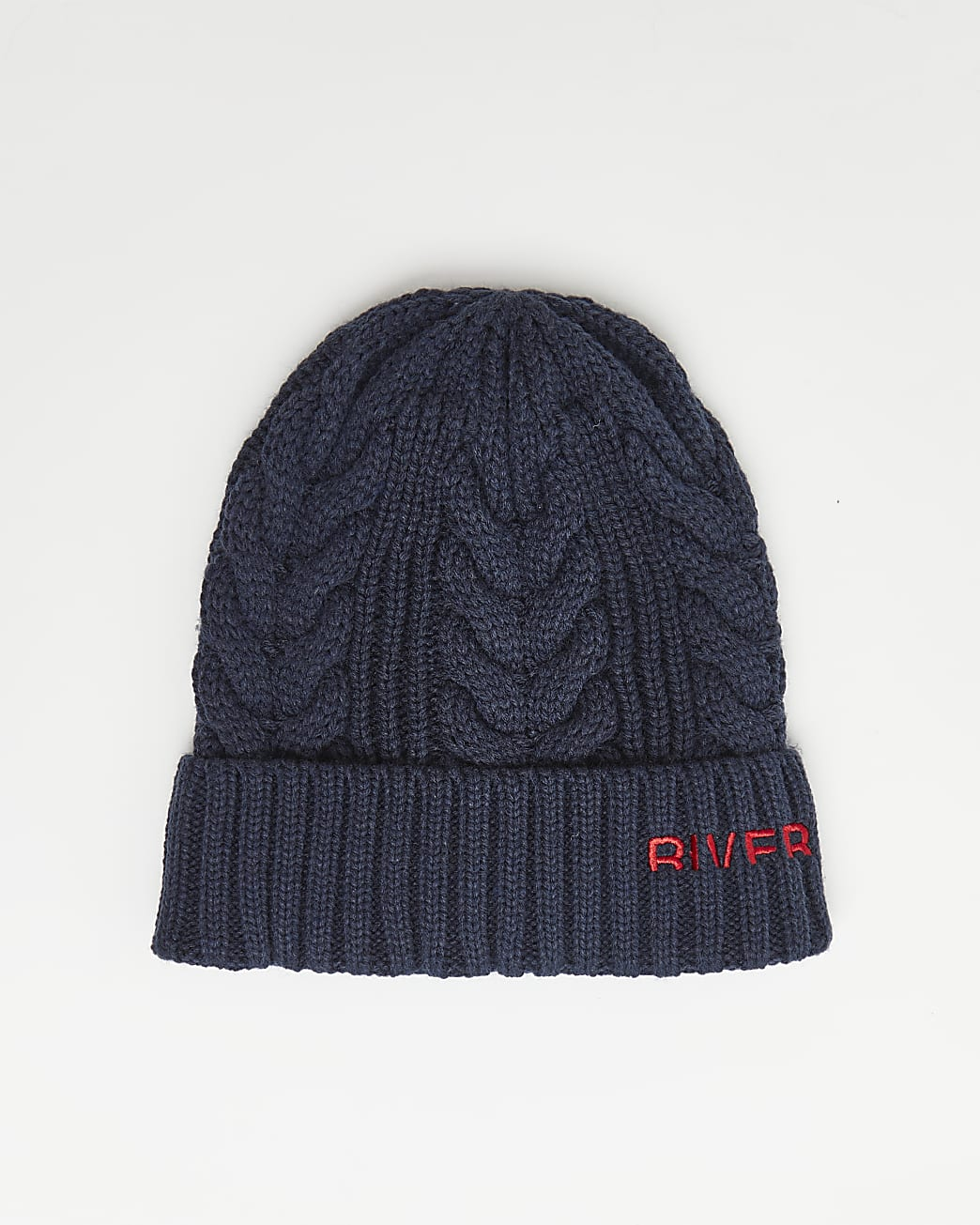 Navy RI branded cable knit beanie hat