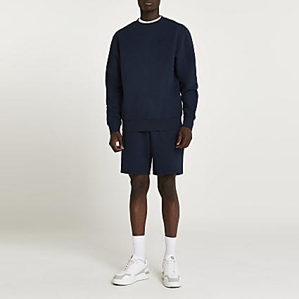 Navy RI branded elasticated waist shorts
