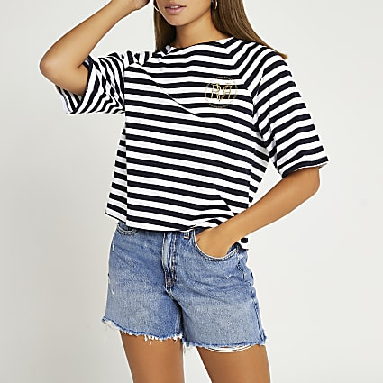 Navy RI branded stripe boxy t-shirt