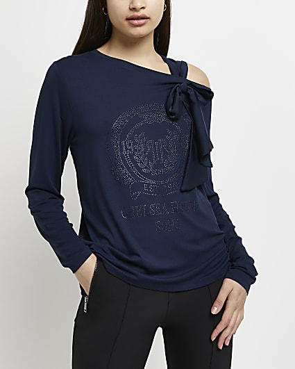 Navy RI branded tie shoulder t-shirt