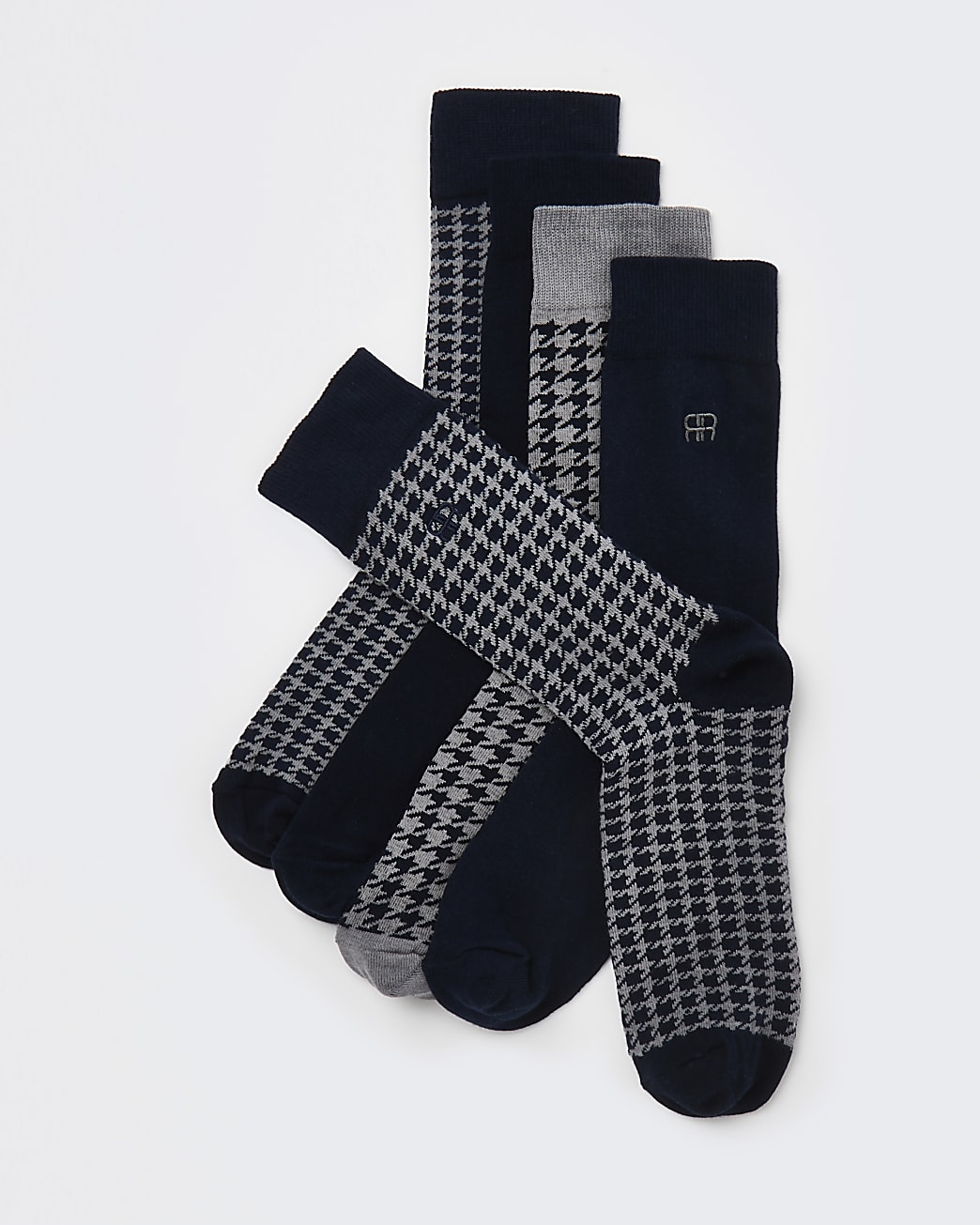 Navy RI dogtooth ankle socks 5 pack