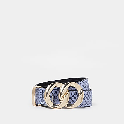 Navy RI double ring buckle belt