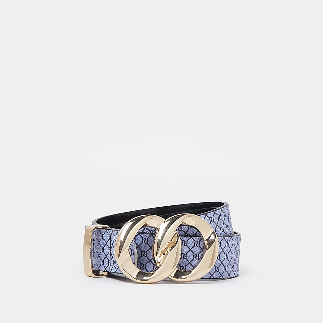 Navy RI double ring buckle belt