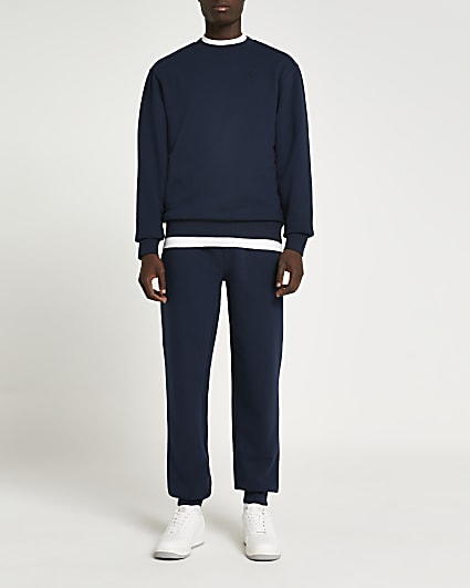 Navy RI embroidered regular fit sweatshirt