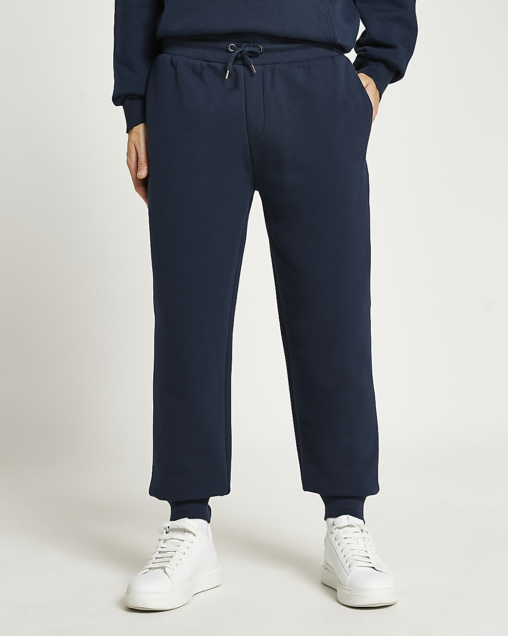 Navy RI embroidered slim fit joggers