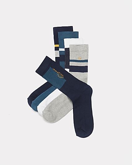 Navy RI embroidered stripe socks 5 pack