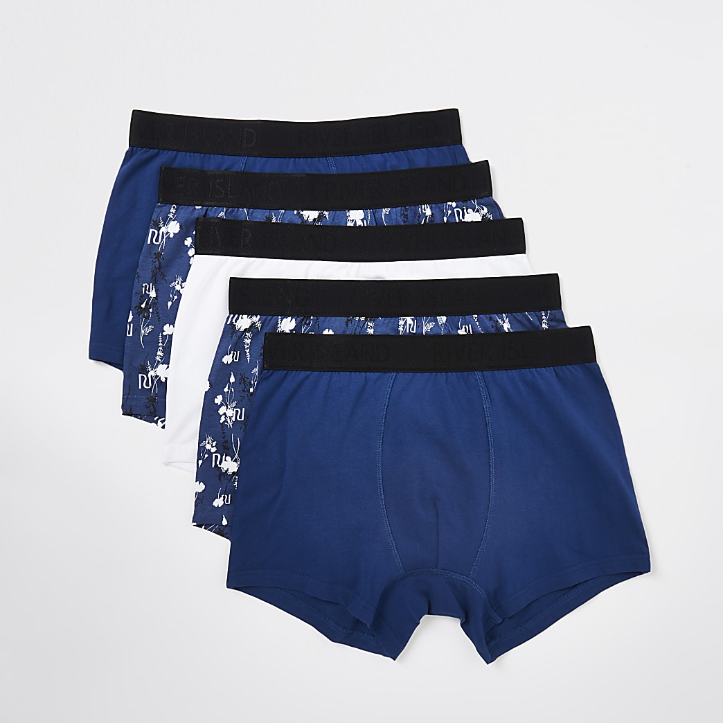 Navy RI floral boxers 5 pack