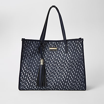 Navy RI jacquard shopper tote bag