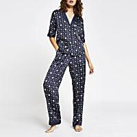 Navy RI logo satin pyjama trousers