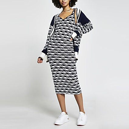 Navy RI logo stripe bodyfit dress