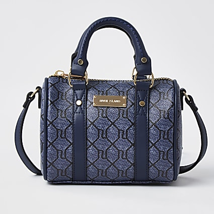 Navy RI monogram crossbody bag