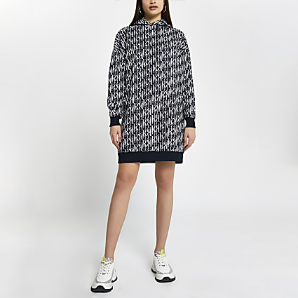 Navy RI monogram hooded sweater dress
