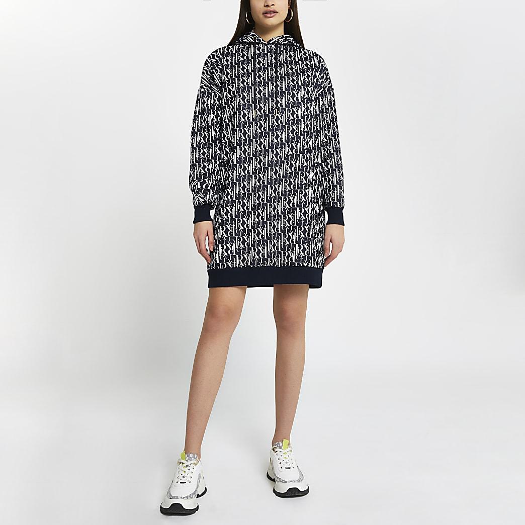 Navy RI monogram hooded sweater dress