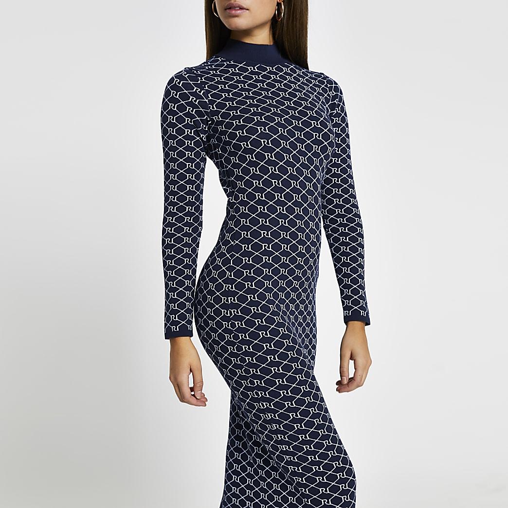 Navy RI monogram knit midi dress