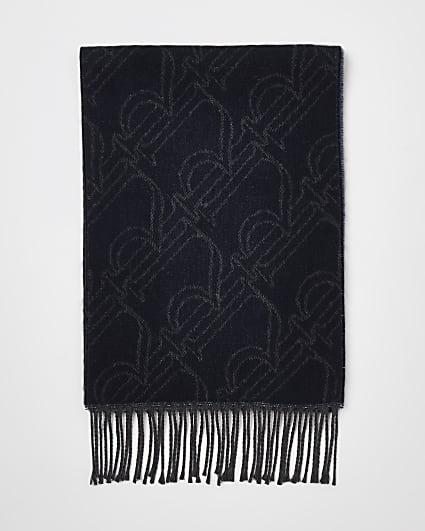 Navy RI monogram reversible scarf