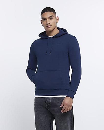 Navy RI muscle fit hoodie