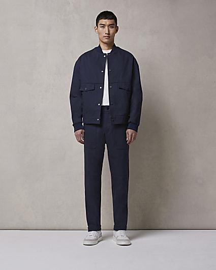Navy RI Studio regular fit trousers