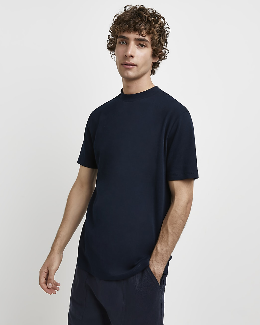 Navy RI Studio slim fit high neck t-shirt
