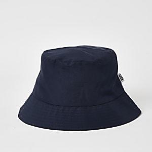 Marinieblauwe bucket hat met RI-lipje