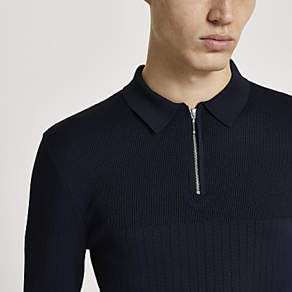 Navy ribbed knit long sleeve muscle fit polo