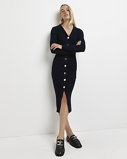 Navy ribbed knitted midi dress