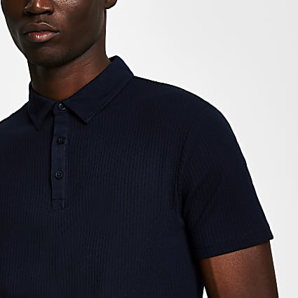 Navy ribbed muscle fit polo shirt