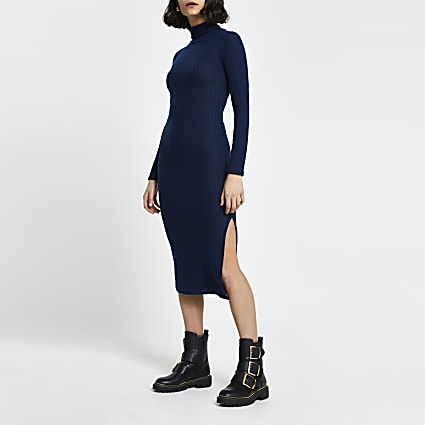 Navy ribbed turtle neck midi dress