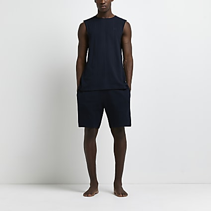 Navy ribbed vest and shorts pyjama set