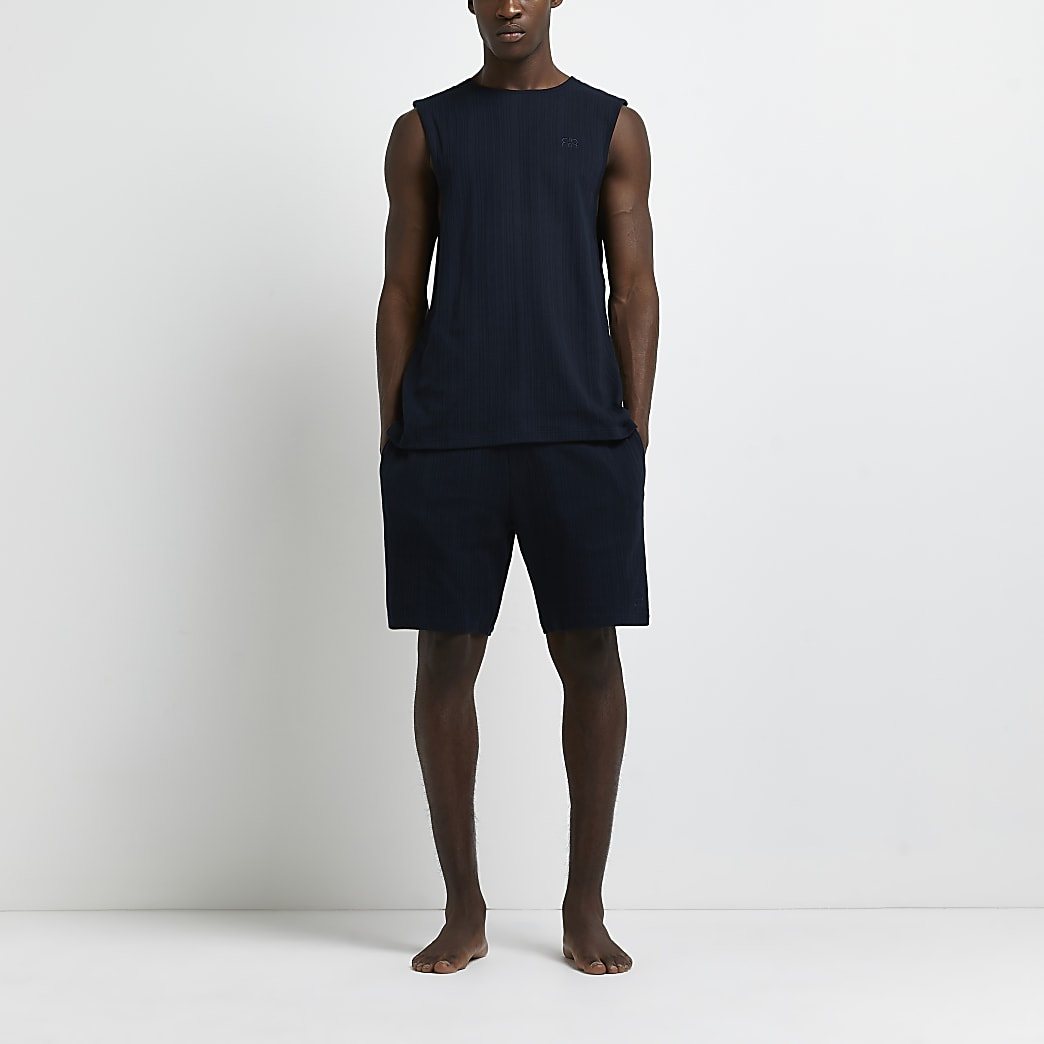 Navy ribbed vest and shorts pyjama set