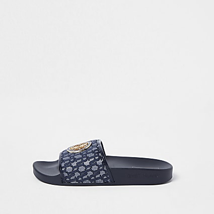 Navy 'RIR' monogram sliders