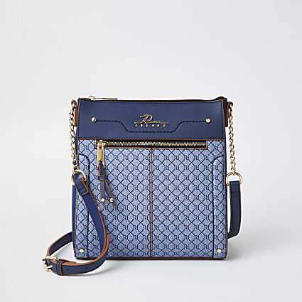 Navy 'River' monogram messenger bag