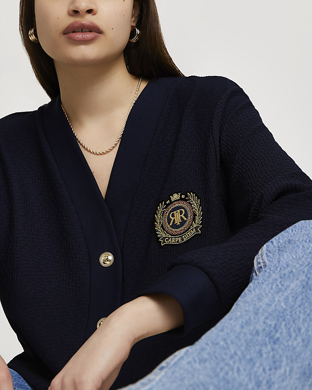 Navy RR badge cardigan