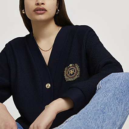 Navy RR badge cardigan