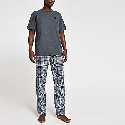 Navy 'RR' check pyjama set