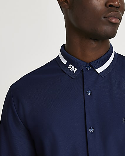 Navy RR collar muscle fit long sleeve shirt