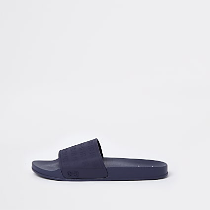 Navy RR monogram embossed sliders