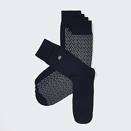 Navy RR monogram socks 5 pack