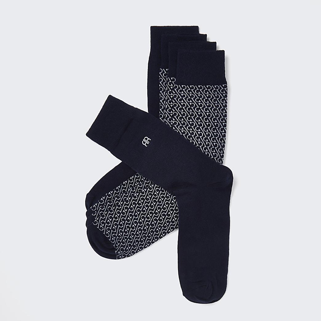 Navy RR monogram socks 5 pack