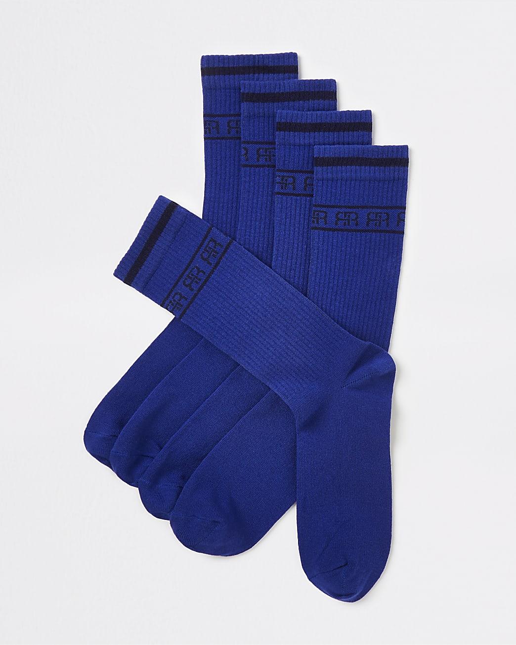 Navy RR monogram stripe tube socks 5 pack