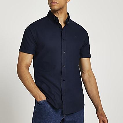 Navy RR Oxford slim fit short sleeve shirt