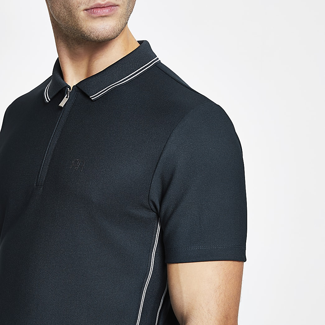 Navy 'RR' short sleeve slim polo shirt