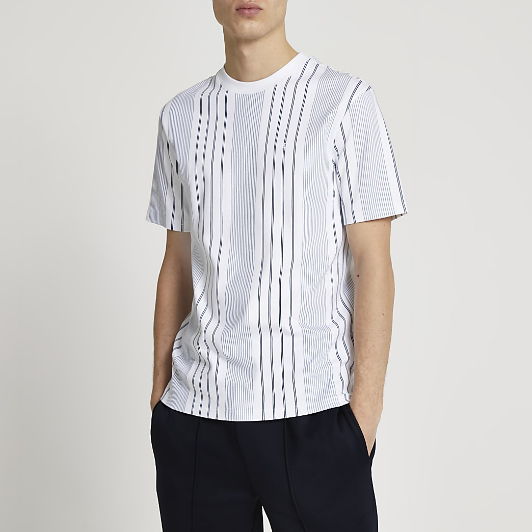 Navy RR stripe slim fit t-shirt