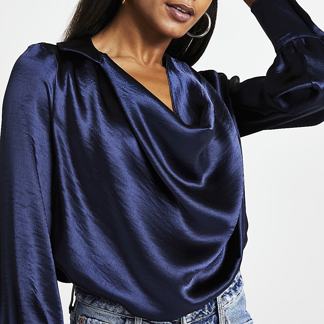Navy satin cowl neck long sleeve top