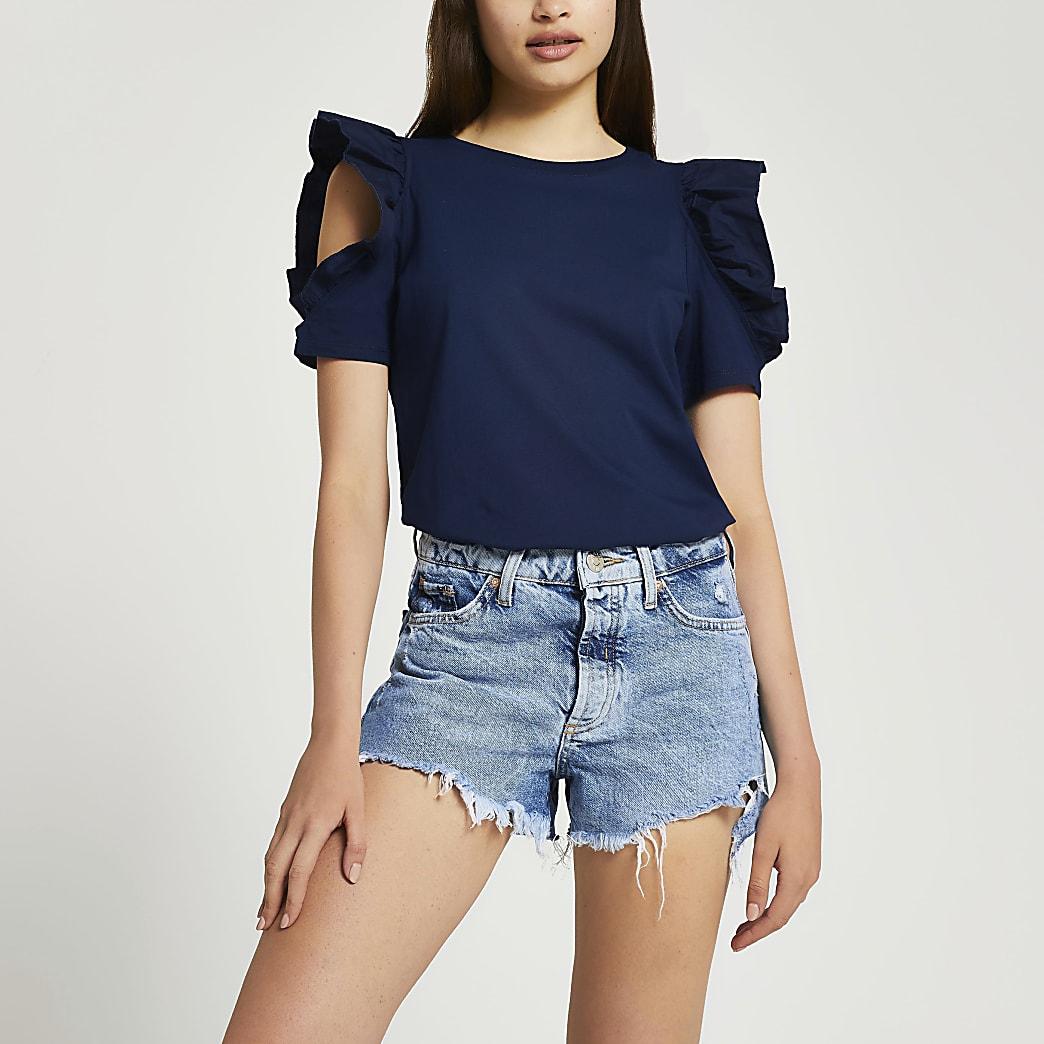 Navy short sleeve frill shoulder t-shirt