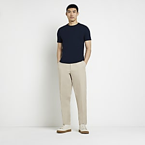 Kurzärmeliges Muscle Fit T-Shirt in Marineblau
