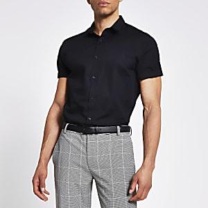 Marineblauw regular-fit overhemd met korte mouwen