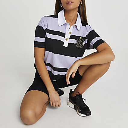 Navy short sleeve striped rugby t-shirt