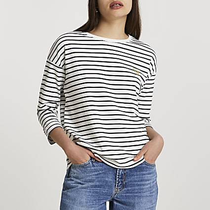 Navy short sleeve striped top