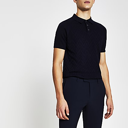 Navy short sleeve textured knitted polo top